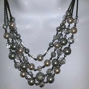 Multistrand faux pearl necklace
